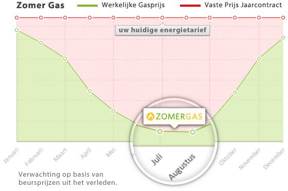 Zomer Gas grafiek van de verwachtte besparing voor bloembollenkwekers